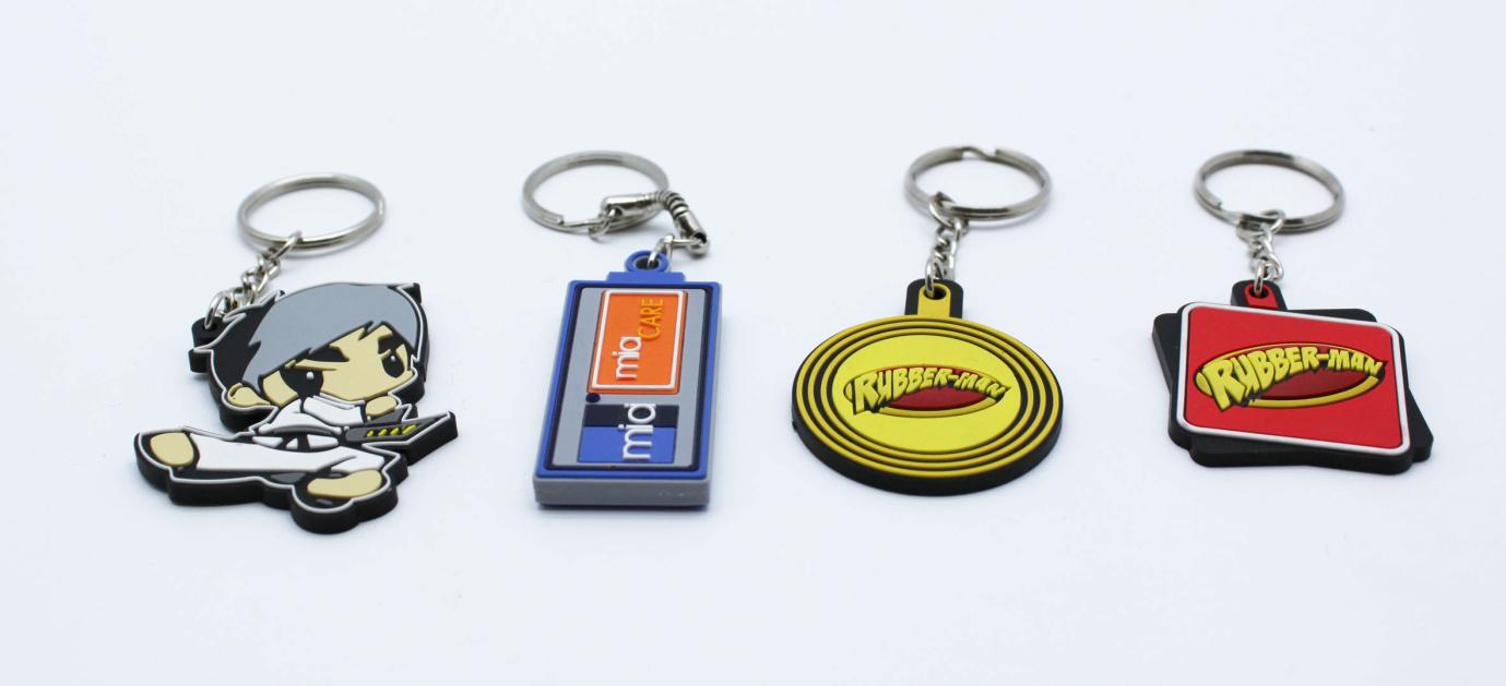 Custom shaped rubber keychains