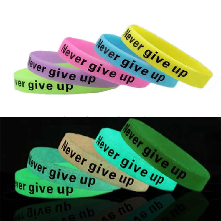 A Promotional Printed Glow in Dark Silicone Wristband