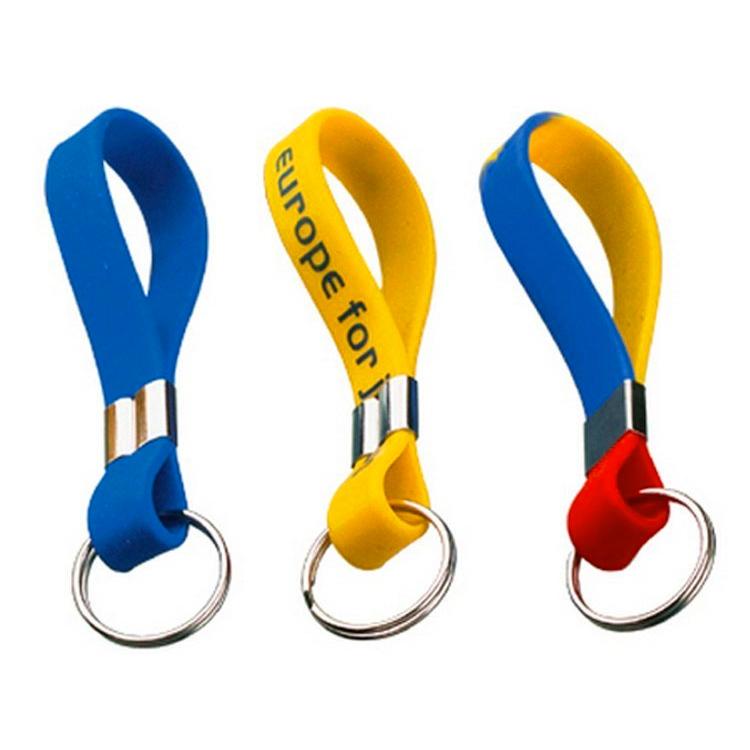 Custom Silicone Rubber Keychain Wristband with Logo Printing