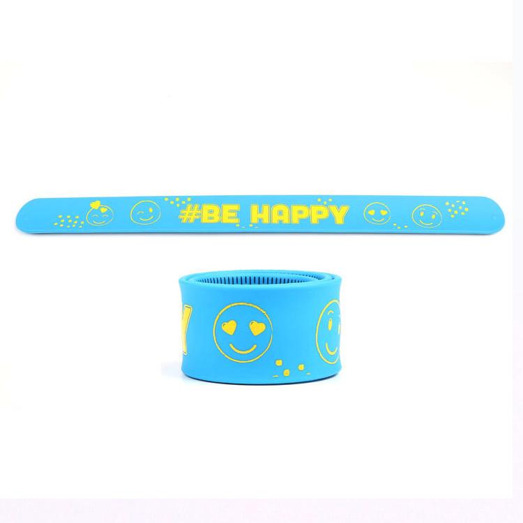 Silicone Rubber Slap Wristband Custom Snap Wristband