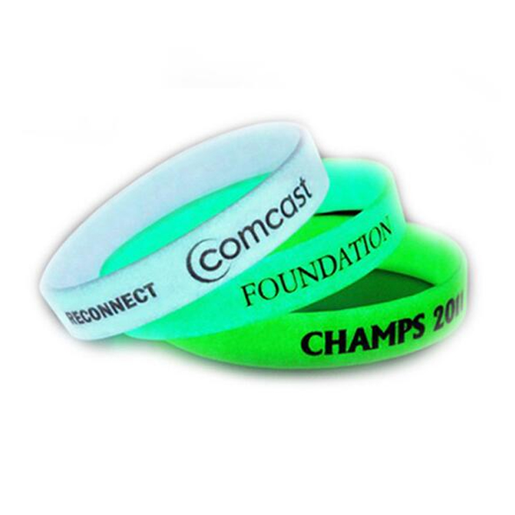Glow In Dark Silicone Rubber Wristbands for Sport Meetings